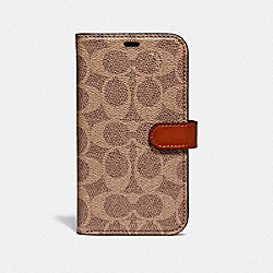 IPHONE X/XS FOLIO IN SIGNATURE CANVAS - TAN - COACH 78767