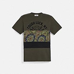 COACH 78880 Tough Luck Patchwork T-shirt With Kaffe Fassett Print OLIVE