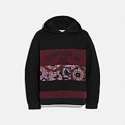 TOUGH LUCK PATCHWORK HOODIE WITH KAFFE FASSETT PRINT - 78882 - BURGUNDY