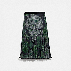 COACH 78944 Pleated Skirt With Kaffe Fassett Print GREY/GREEN