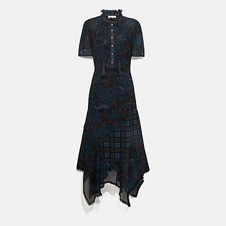 COACH 78964 LONG DRESS WITH KAFFE FASSETT PRINT BLUE