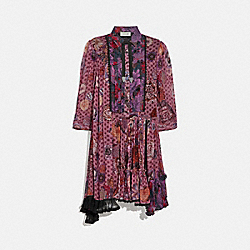 COACH 79004 Asymmetrical Dress With Kaffe Fassett Print PURPLE/RED