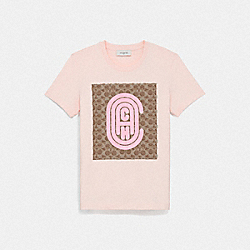 COACH 79013 Fitted Retro Signature T-shirt PINK