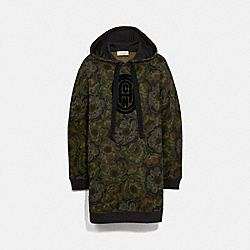COACH 79014 Coach Sweatshirt Dress With Kaffe Fassett Print MILITARY GREEN