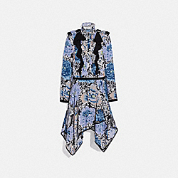 COACH 79072 Pleated Dress With Kaffe Fassett Print BLACK/BLUE