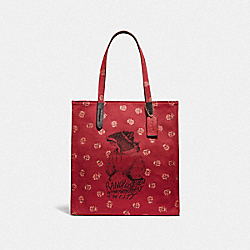 COACH 79303 - LUNAR NEW YEAR TOTE WITH RANDY THE RAT GD/RED APPLE