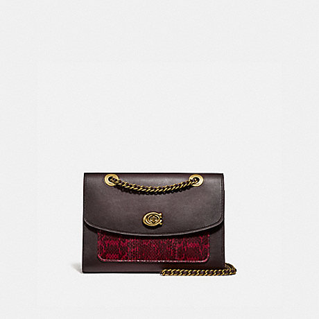 COACH 79329 PARKER WITH SNAKESKIN DETAIL BRASS/DEEP-RED