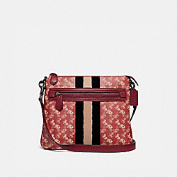 COACH 79367 - OLIVE CROSSBODY WITH HORSE AND CARRIAGE PRINT AND VARSITY STRIPE PEWTER/RED DEEP RED