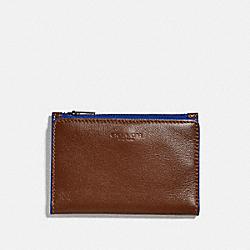 COACH 79382 Bifold Zip Card Case SADDLE/SPORT BLUE