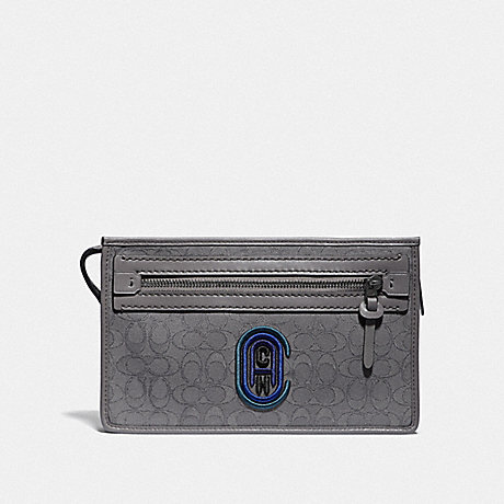 COACH 79390 RIVINGTON CONVERTIBLE POUCH IN SIGNATURE JACQUARD WITH COACH PATCH HEATHER GREY/BLUE OMBRE