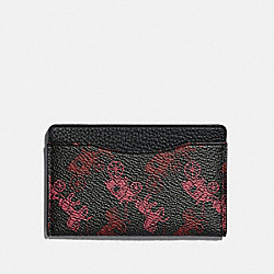 COACH 79414 - SMALL CARD CASE WITH HORSE AND CARRIAGE PRINT BLACK/RED