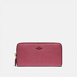 COACH 79426 Accordion Zip Wallet BRASS/DUSTY PINK