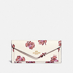 COACH 79429 Soft Wallet With Floral Print GOLD/CHALK FLORAL PRINT