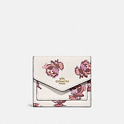 COACH 79430 Small Wallet With Floral Print GOLD/CHALK FLORAL PRINT