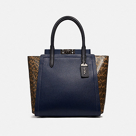 COACH TROUPE TOTE WITH COLORBLOCK SNAKESKIN DETAIL - PEWTER/CADET MULTI - 79474