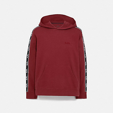 COACH 79518 HORSE AND CARRIAGE TAPE HOODIE DARK CARDINAL