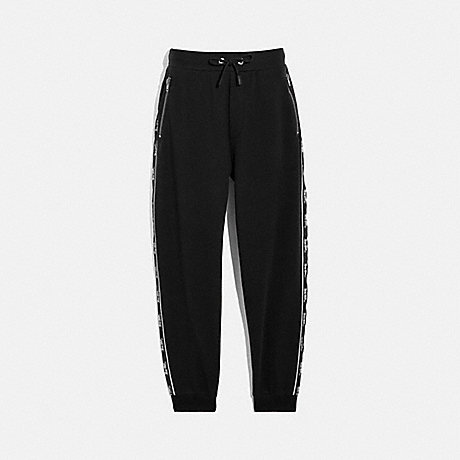 COACH 79530 HORSE AND CARRIAGE TAPE SWEATPANTS BLACK