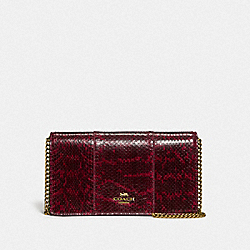 COACH 79600 - CALLIE FOLDOVER CHAIN CLUTCH IN BLOCKED SNAKESKIN B4/DEEP RED