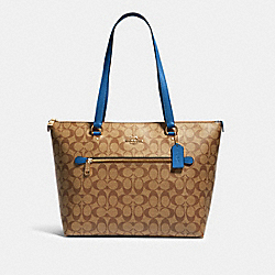 COACH 79609 Gallery Tote In Signature Canvas IM/KHAKI DEEP ATLANTIC
