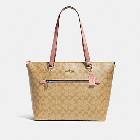 COACH 79609 GALLERY TOTE IN SIGNATURE CANVAS IM/LIGHT-KHAKI-BLOSSOM