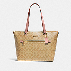 GALLERY TOTE IN SIGNATURE CANVAS - 79609 - IM/LIGHT KHAKI BLOSSOM
