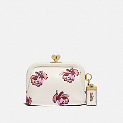 COACH 79629 Kisslock Coin Case With Floral Print BRASS/CHALK FLORAL PRINT