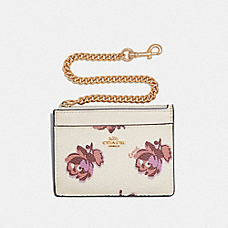 COACH 79631 - CHAIN CARD CASE WITH FLORAL PRINT GD/CHALK FLORAL PRINT