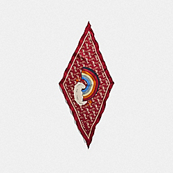 COACH 79639 - HORSE AND CARRIAGE RAINBOW PRINT SILK DIAMOND SCARF RED/DEEP RED