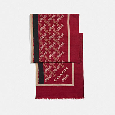 【オンライン限定】ホース アンド キャリッジ プリント ヴァーシティ ストライプ オブロング スカーフ