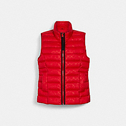 COACH 79674 Signature Embossed Short Down Vest POPPY