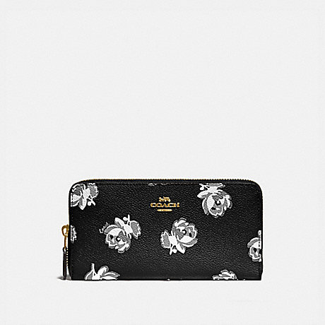 COACH 79814 ACCORDION ZIP WALLET WITH FLORAL PRINT GOLD/BLACK FLORAL PRINT