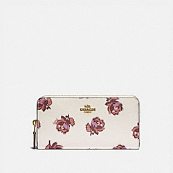 COACH 79814 - ACCORDION ZIP WALLET WITH FLORAL PRINT GD/CHALK FLORAL PRINT