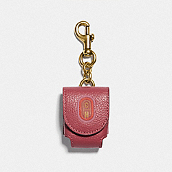 COACH 79860 - WIRELESS EARBUD CASE BAG CHARM WITH COACH PATCH GOLD/RED