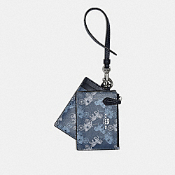 COACH 79945 - LANYARD SET WITH HORSE AND CARRIAGE PRINT SV/INDIGO PALE BLUE MULTI