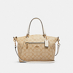 PRAIRIE SATCHEL IN SIGNATURE CANVAS - 79998 - IM/LIGHT KHAKI CHALK