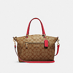 COACH 79998 - PRAIRIE SATCHEL IN SIGNATURE CANVAS IM/KHAKI ELECTRIC PINK