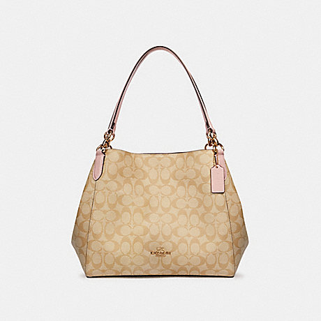 COACH 80298 HALLIE SHOULDER BAG IN SIGNATURE CANVAS IM/LIGHT KHAKI BLOSSOM