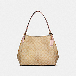 HALLIE SHOULDER BAG IN SIGNATURE CANVAS - 80298 - IM/LIGHT KHAKI BLOSSOM