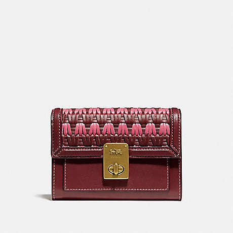 COACH HUTTON WALLET WITH WEAVING - B4/CONFETTI PINK MULTI - 804
