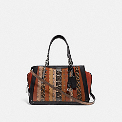 COACH 80564 - DREAMER WITH SIGNATURE CANVAS PATCHWORK STRIPES AND SNAKESKIN DETAIL PEWTER/TAN BLACK MULTI