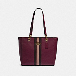 JES TOTE WITH VARSITY STRIPE - 80808 - IM/DARK BERRY MULTI