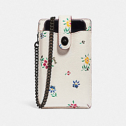 COACH 809 Turnlock Chain Phone Crossbody With Wildflower Print V5/CHALK