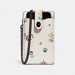 TURNLOCK CHAIN PHONE CROSSBODY WITH WILDFLOWER PRINT - V5/CHALK - COACH 809