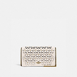 CALLIE FOLDOVER CHAIN CLUTCH WITH FLORAL APPLIQUE - 835 - B4/CHALK