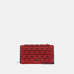 CALLIE FOLDOVER CHAIN CLUTCH WITH FLORAL APPLIQUE - 835 - V5/RED APPLE