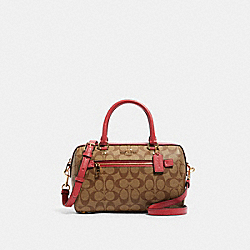 ROWAN SATCHEL IN SIGNATURE CANVAS - 83607 - IM/KHAKI POPPY