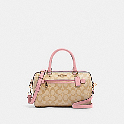 ROWAN SATCHEL IN SIGNATURE CANVAS - 83607 - IM/LIGHT KHAKI/BUBBLEGUM