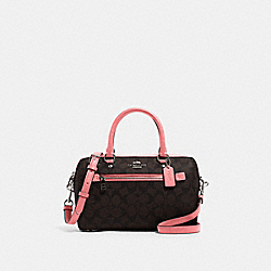 ROWAN SATCHEL IN SIGNATURE CANVAS - 83607 - QB/BROWN PINK LEMONADE