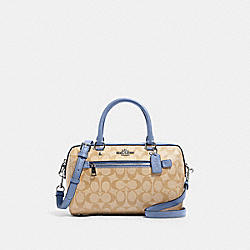COACH 83607 - ROWAN SATCHEL IN SIGNATURE CANVAS SV/LT KHA/PERIWINKLE