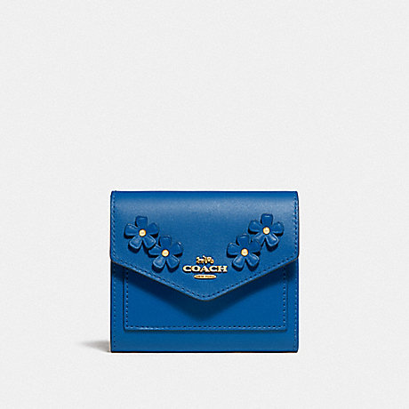 COACH SMALL WALLET WITH FLORAL APPLIQUE - B4/BRIGHT MINERAL - 836
